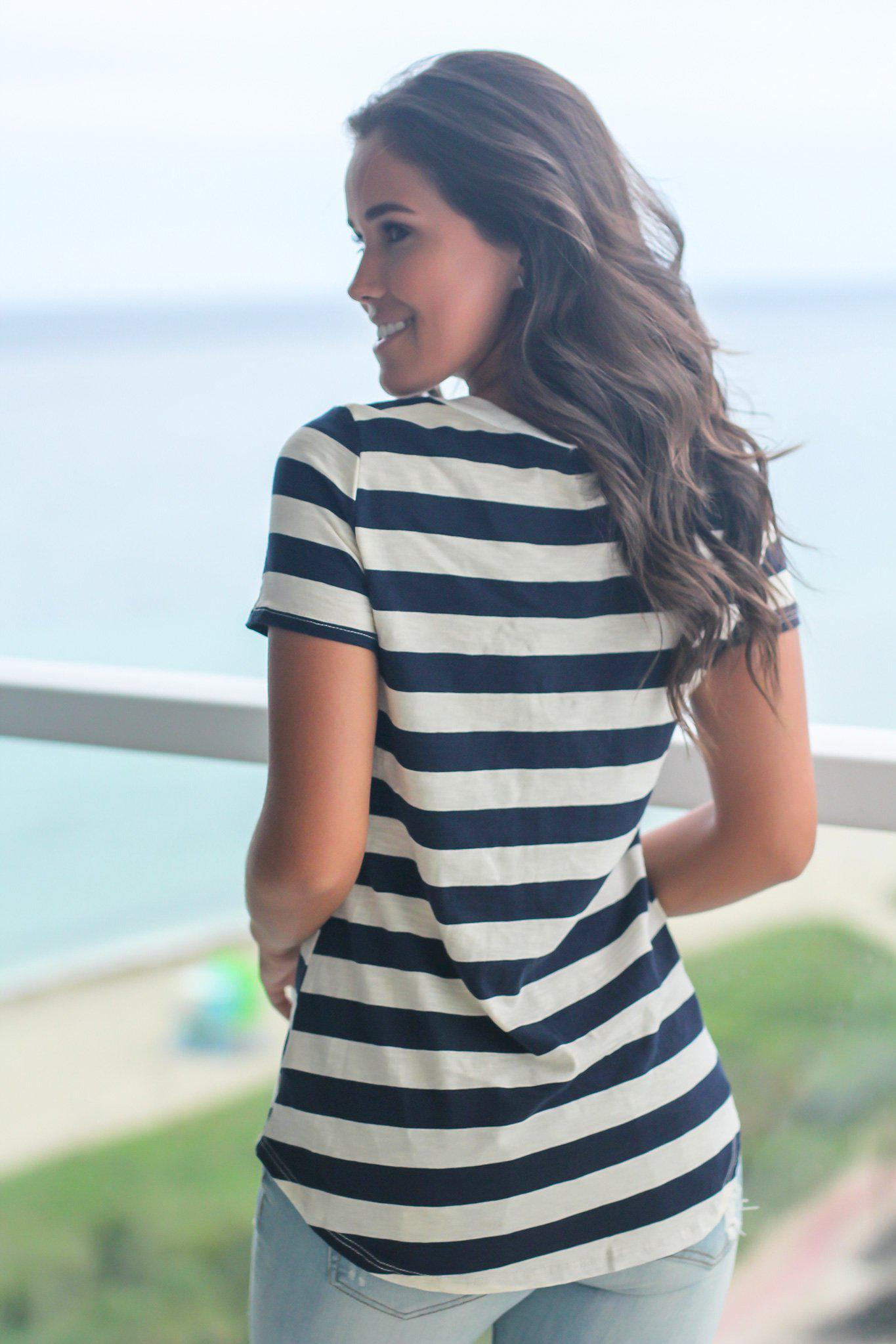 Navy Striped Top with Lace Up Front