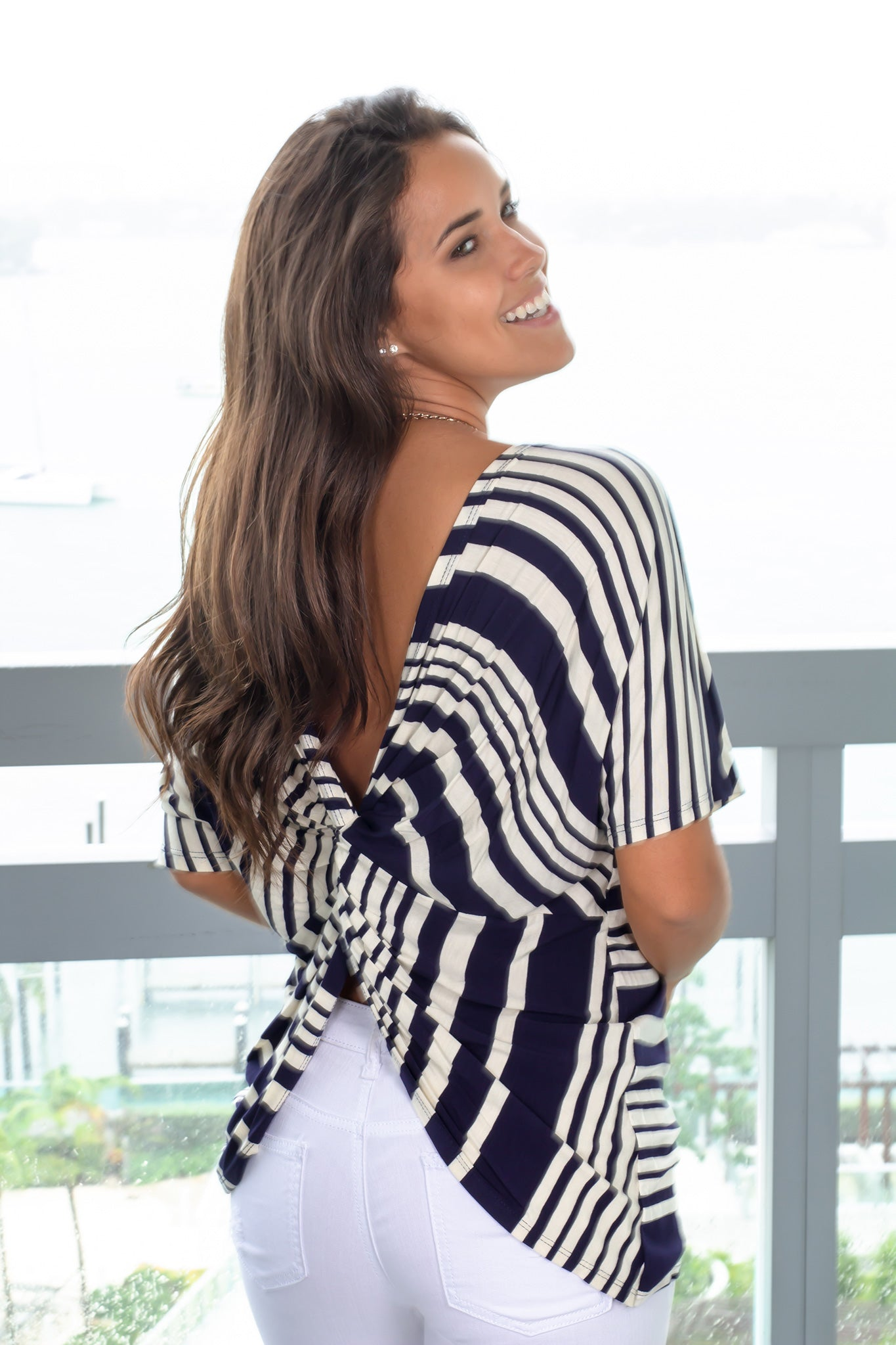 Navy Striped Top with Twist Back