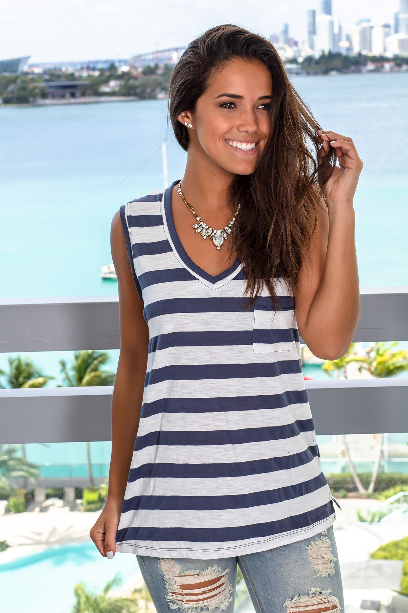 Navy Striped V-Neck Top with Pocket