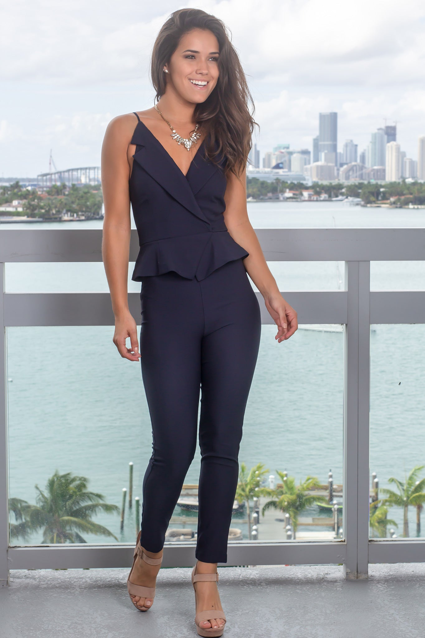 Navy Surplice Jumpsuit