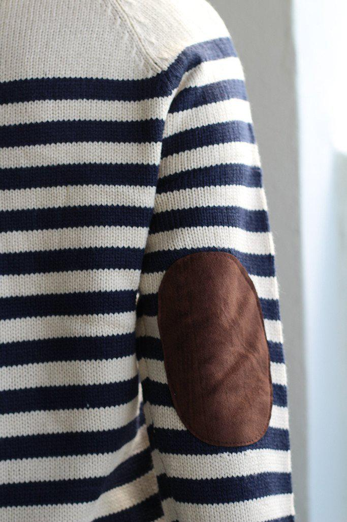 Navy Striped Sweater With Elbow Patches