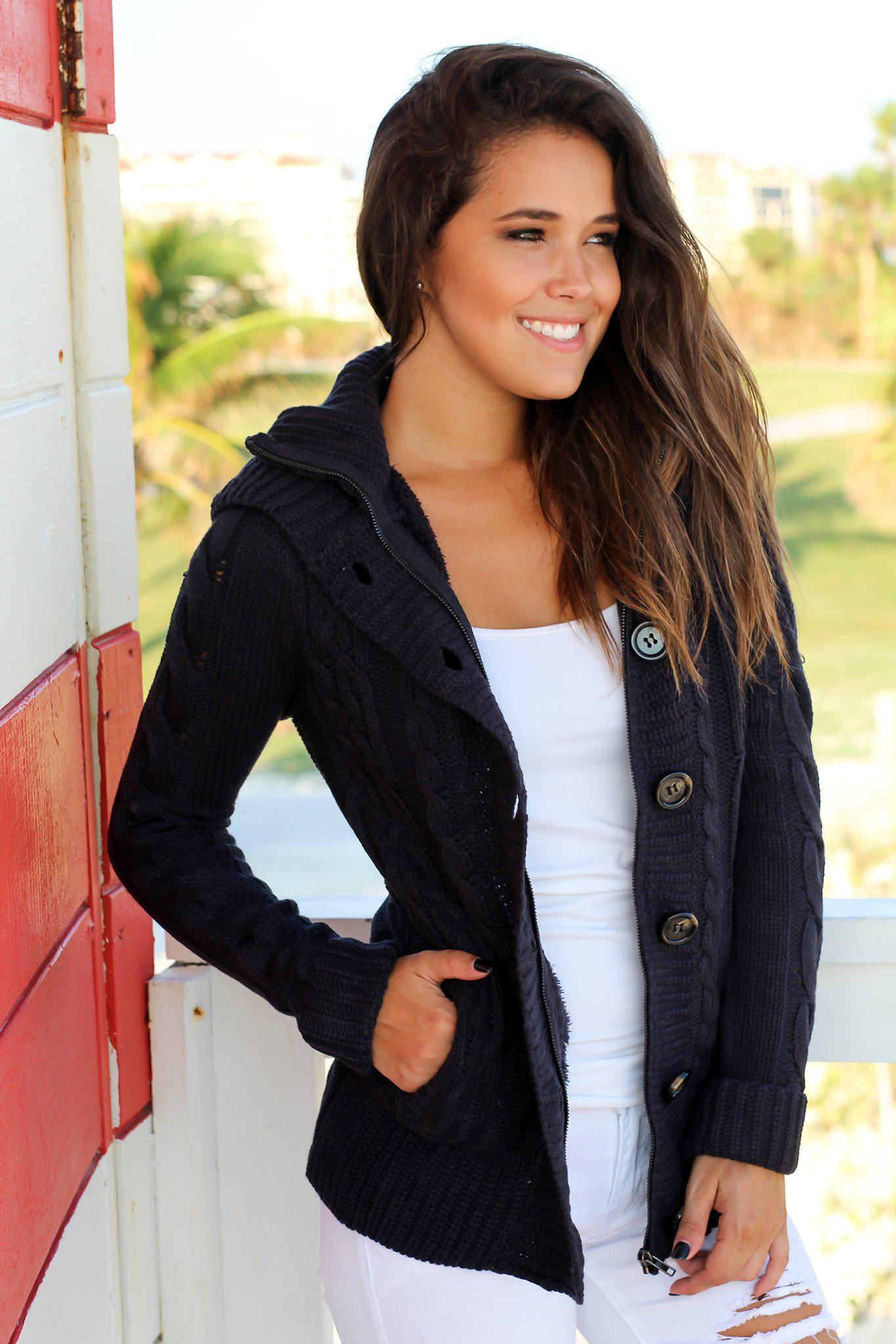 Navy Sweater with Fur Hood