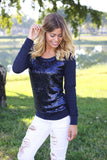 navy sequined sweatshirt