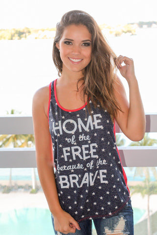 "Navy ""Home of The Free"" Tank Top"