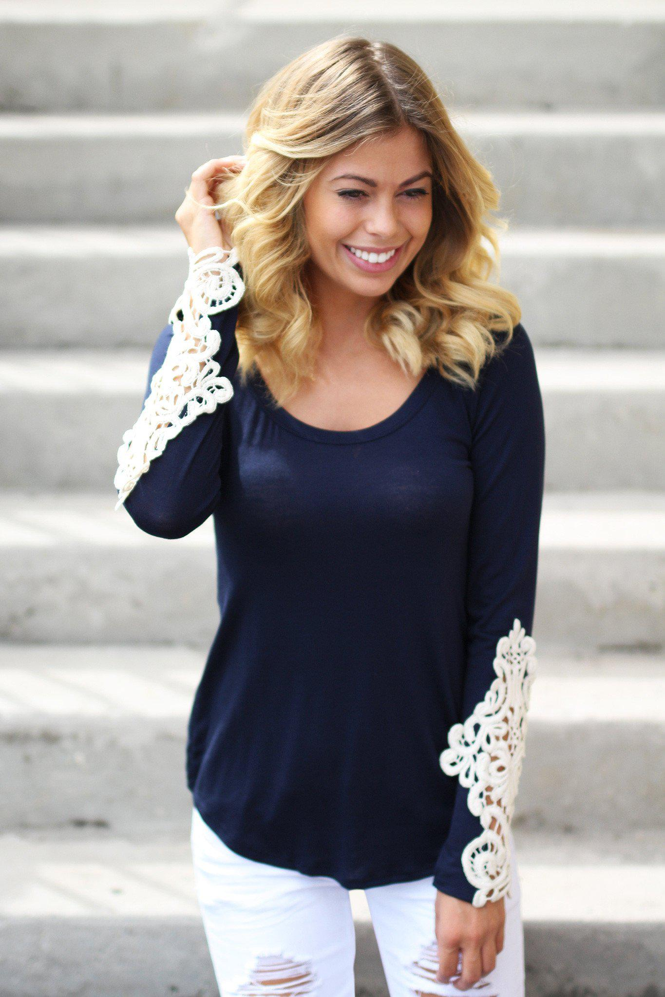 navy crochet sleeves top