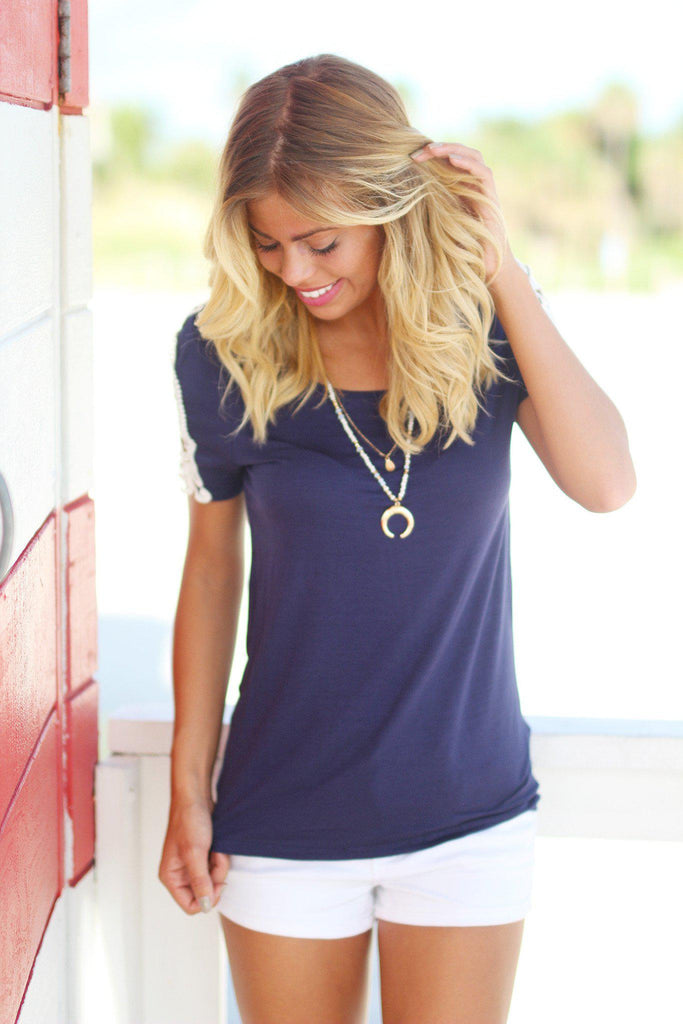 Navy Top with Crochet Sleeves