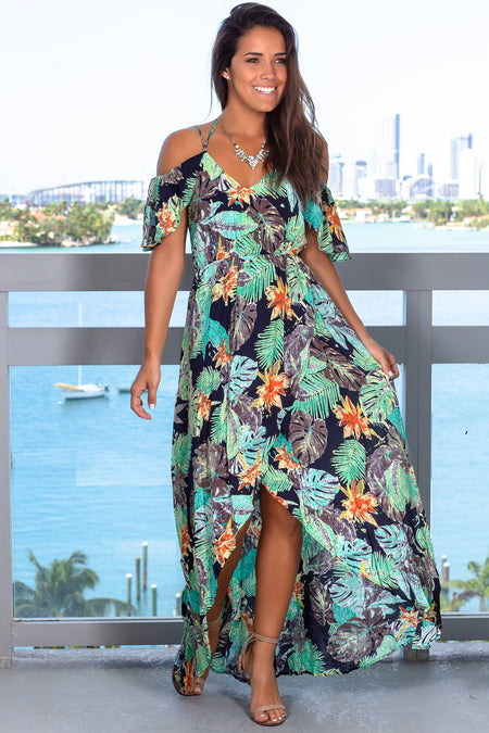 Navy Tropical High Low Dress