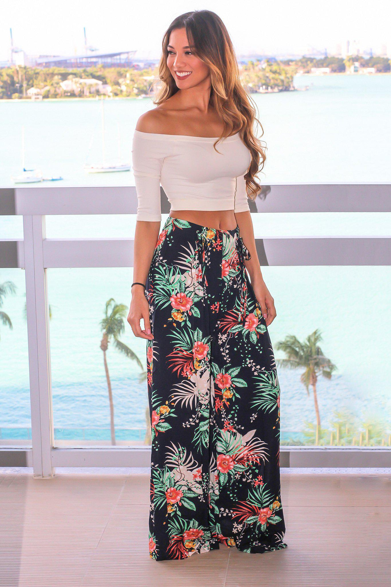 Navy Tropical Pants with Lace Up Detail