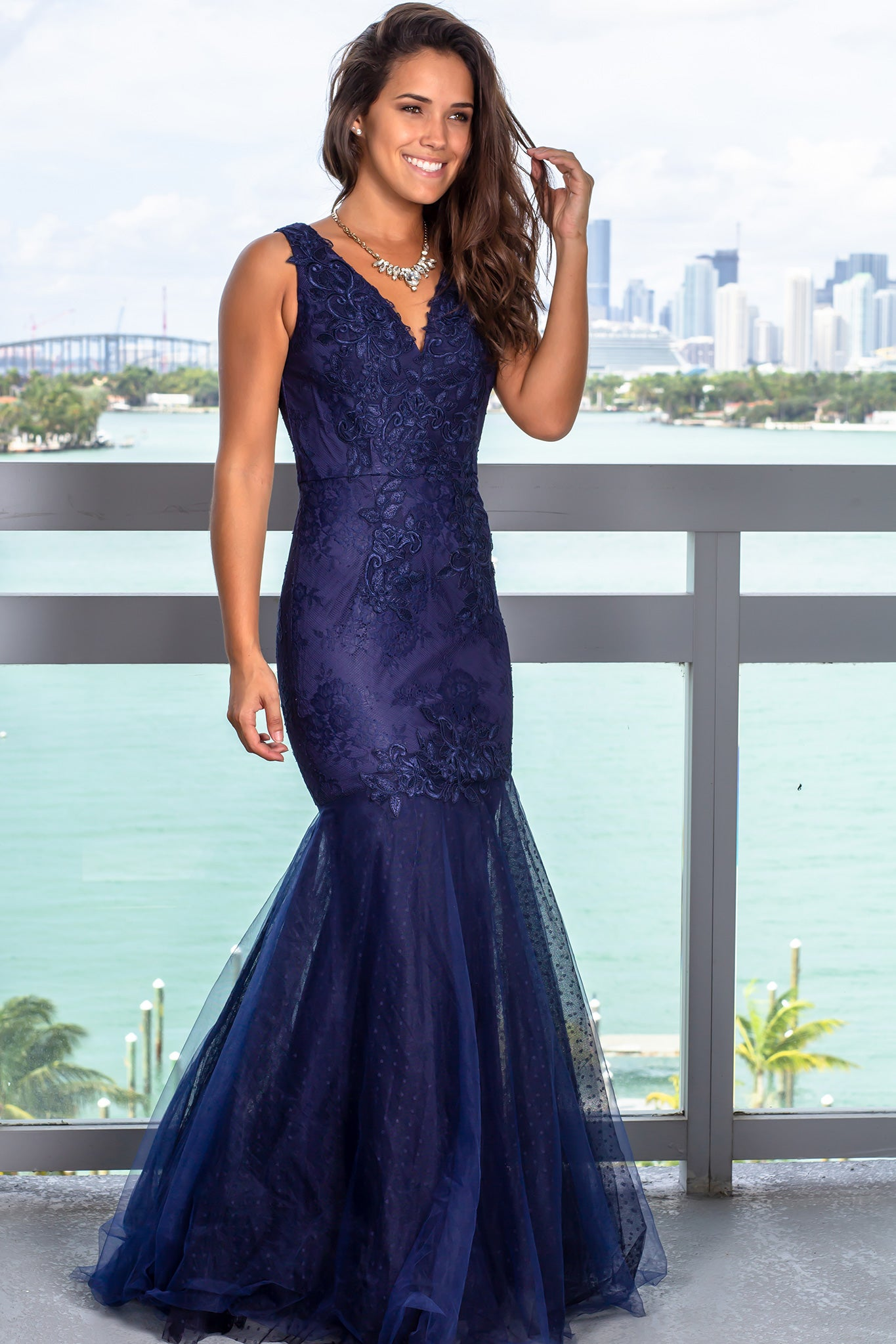 Navy V-Neck Lace Maxi Dress with Tulle Bottom