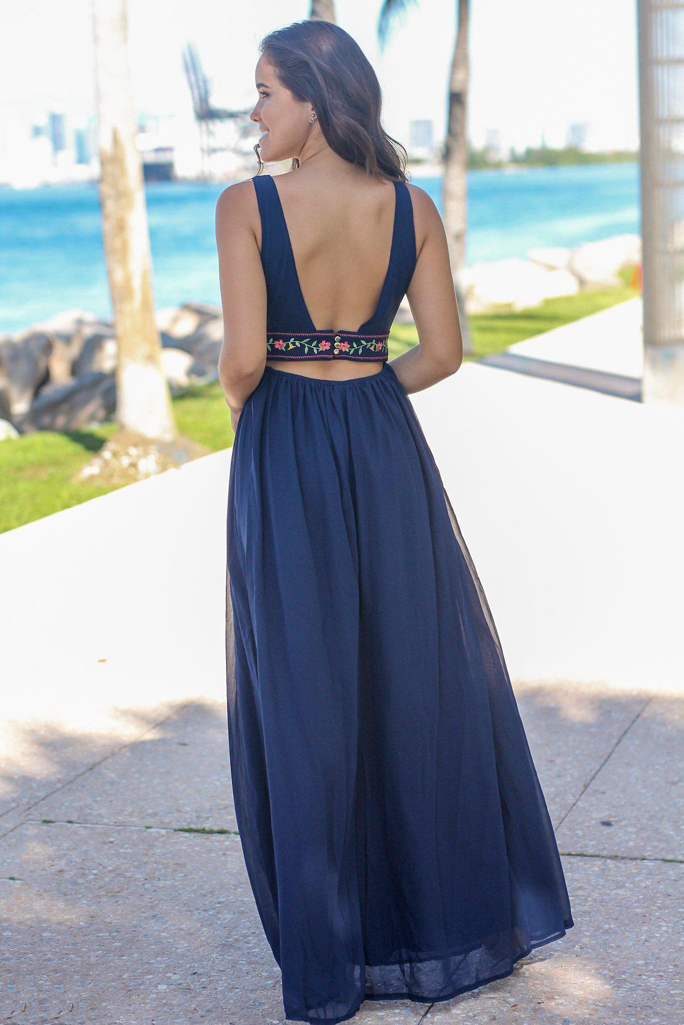 Navy V-Neck Maxi Dress with Floral Top