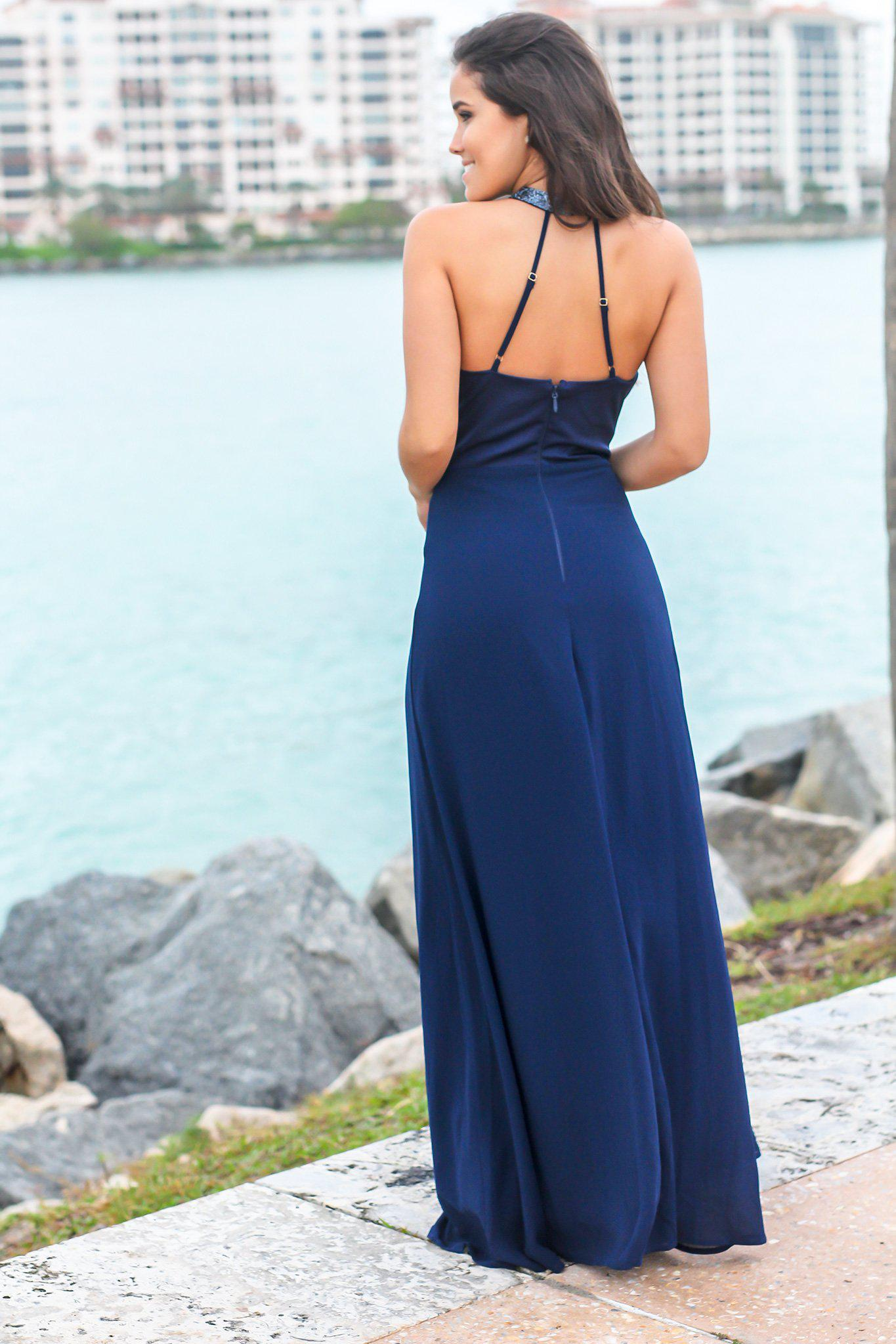 Navy V-Neck Maxi Dress with Neck and Waist Detail