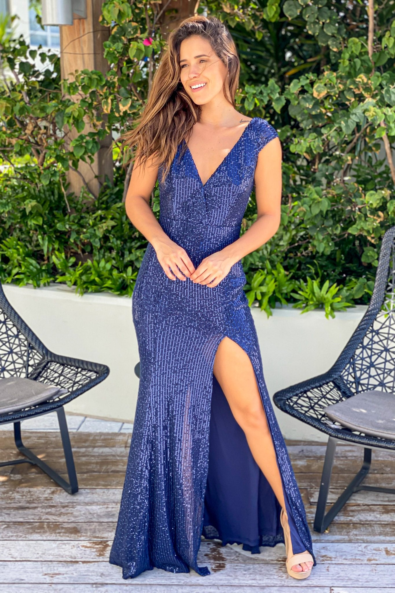 Navy V-Neck Sequin Maxi Dress with Side Slit