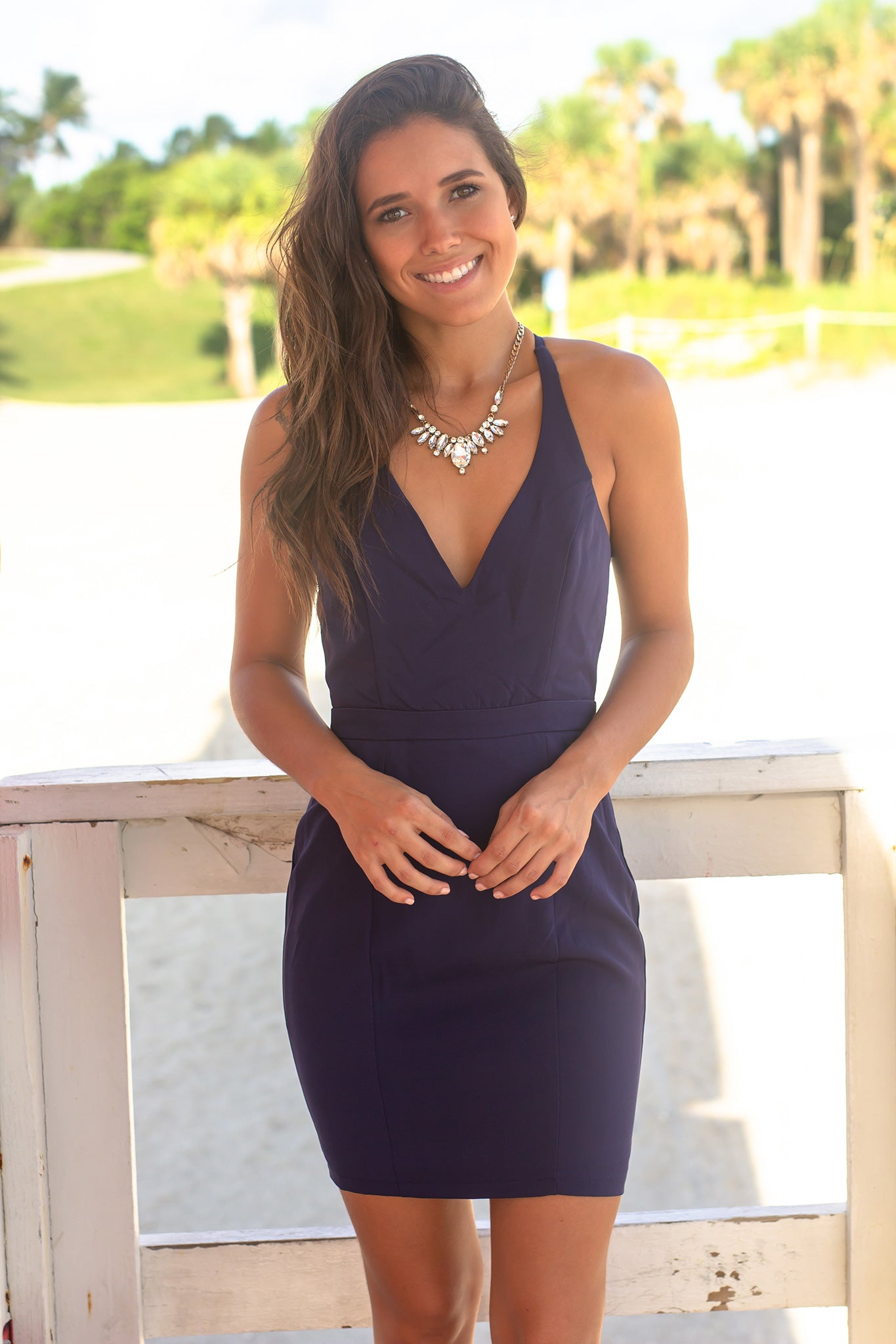 Navy V-Neck Short Dress with Lace Back