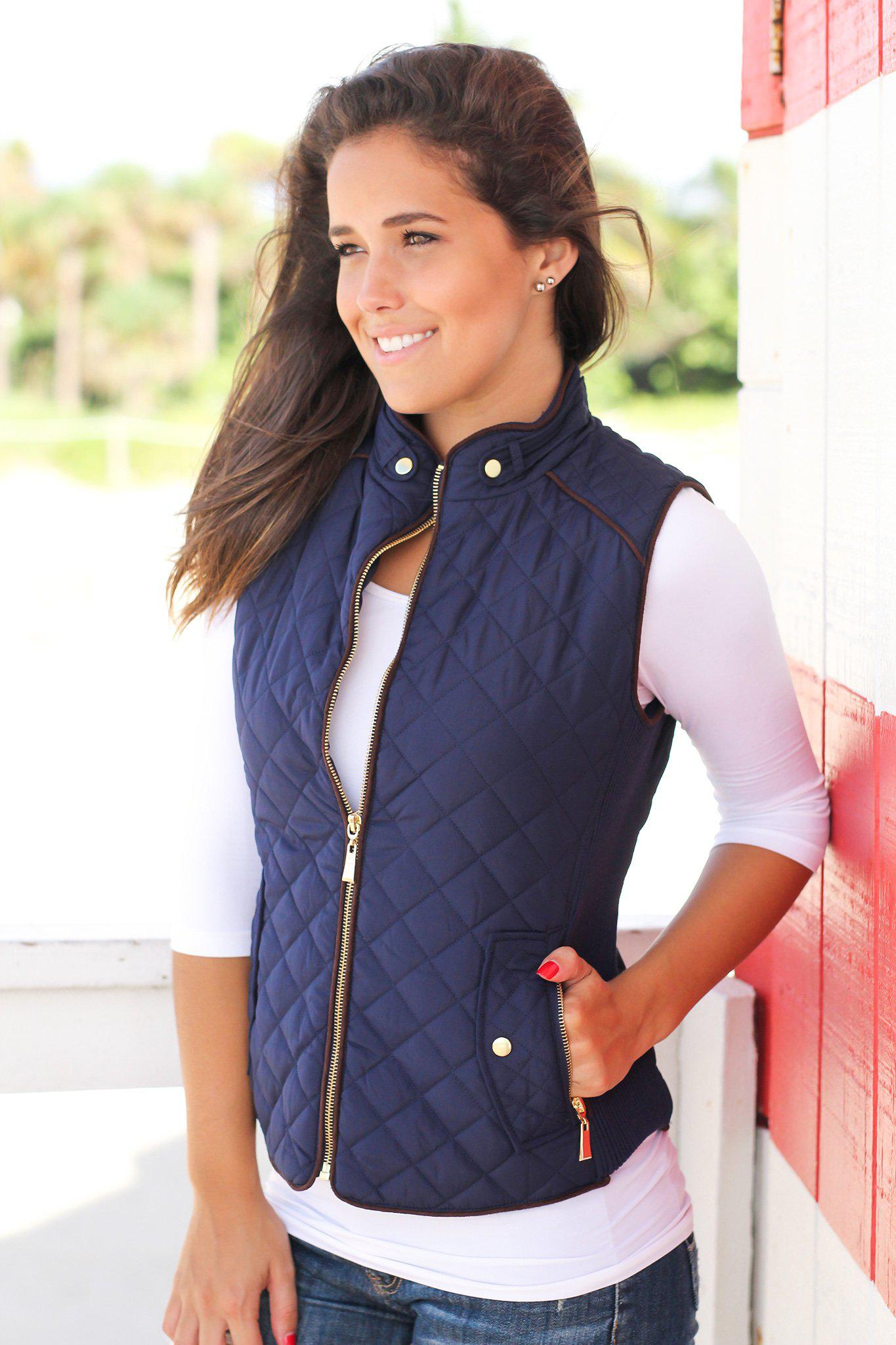 Dark Navy Quilted Vest With Pockets | Online Boutiques – Saved by ... : quilted vest navy - Adamdwight.com