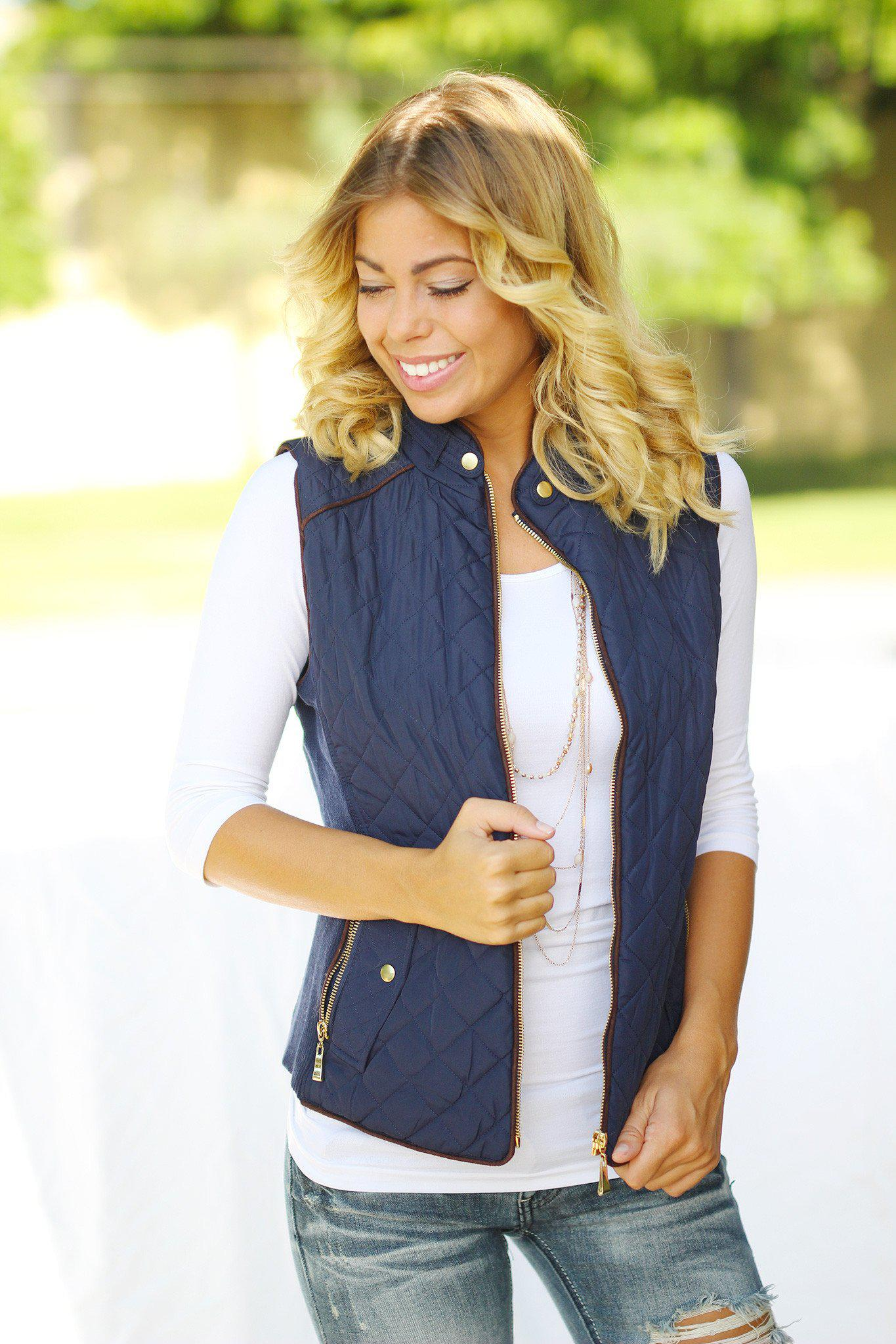 Dark Navy Vest with Pockets