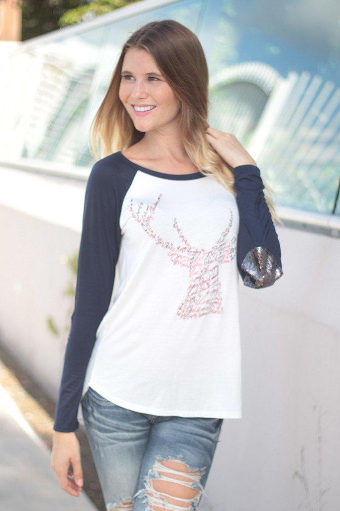 Navy And White Reindeer Top with Sequin Elbow Patches