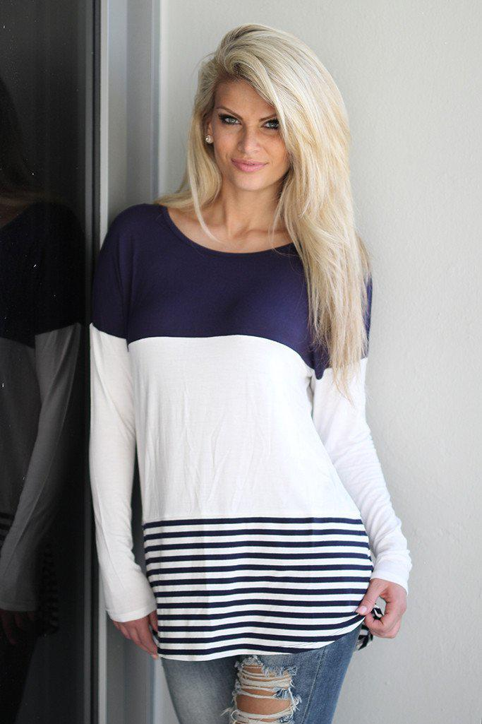 Navy Top With Crochet Back