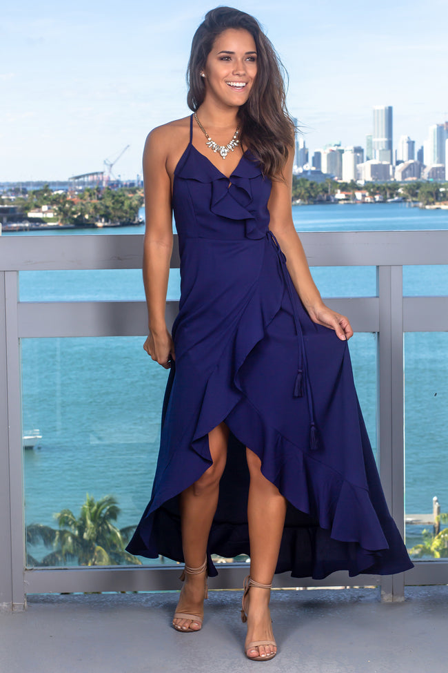 Navy Wrap Dress with Strappy Back and Ruffle Detail