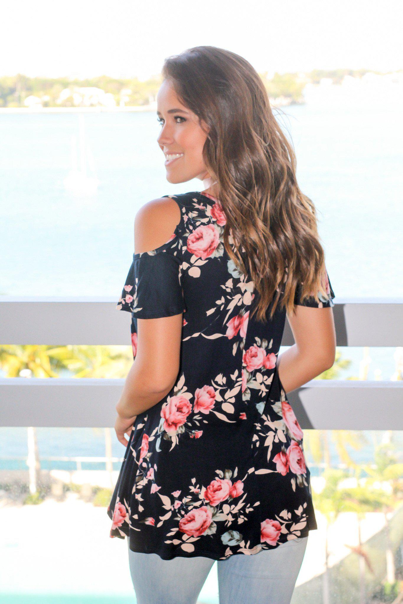 Navy and Blush Floral Open Shoulder Top