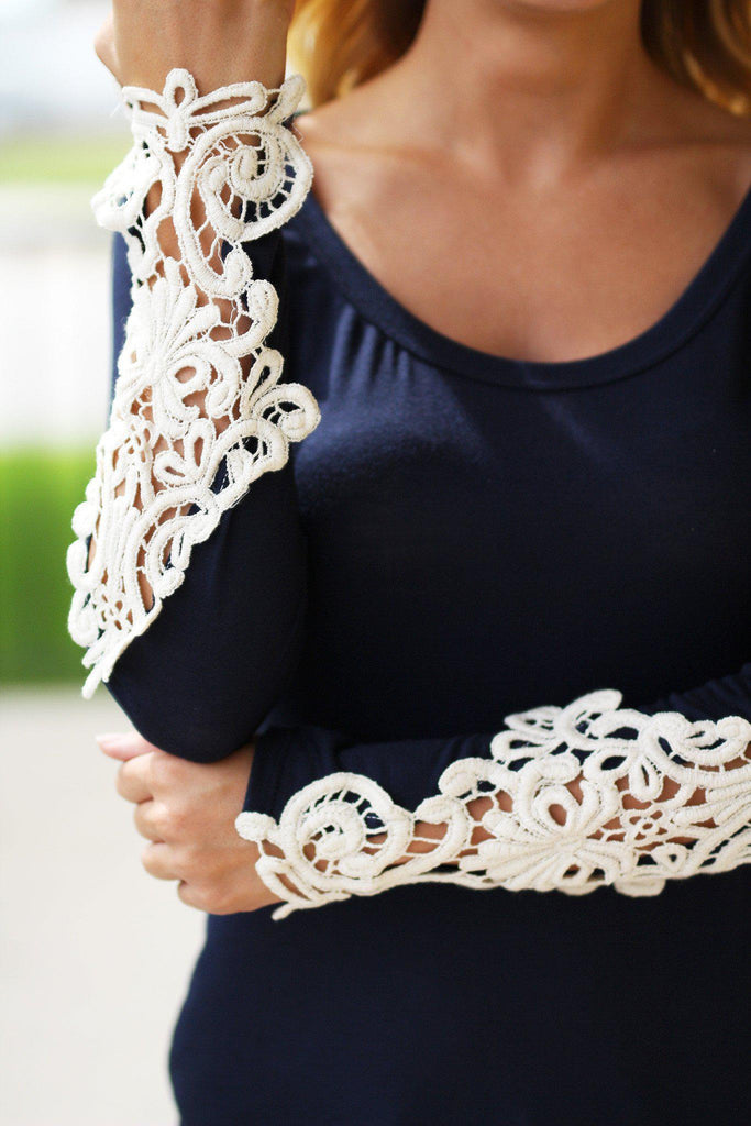 cute top with crochet sleeves