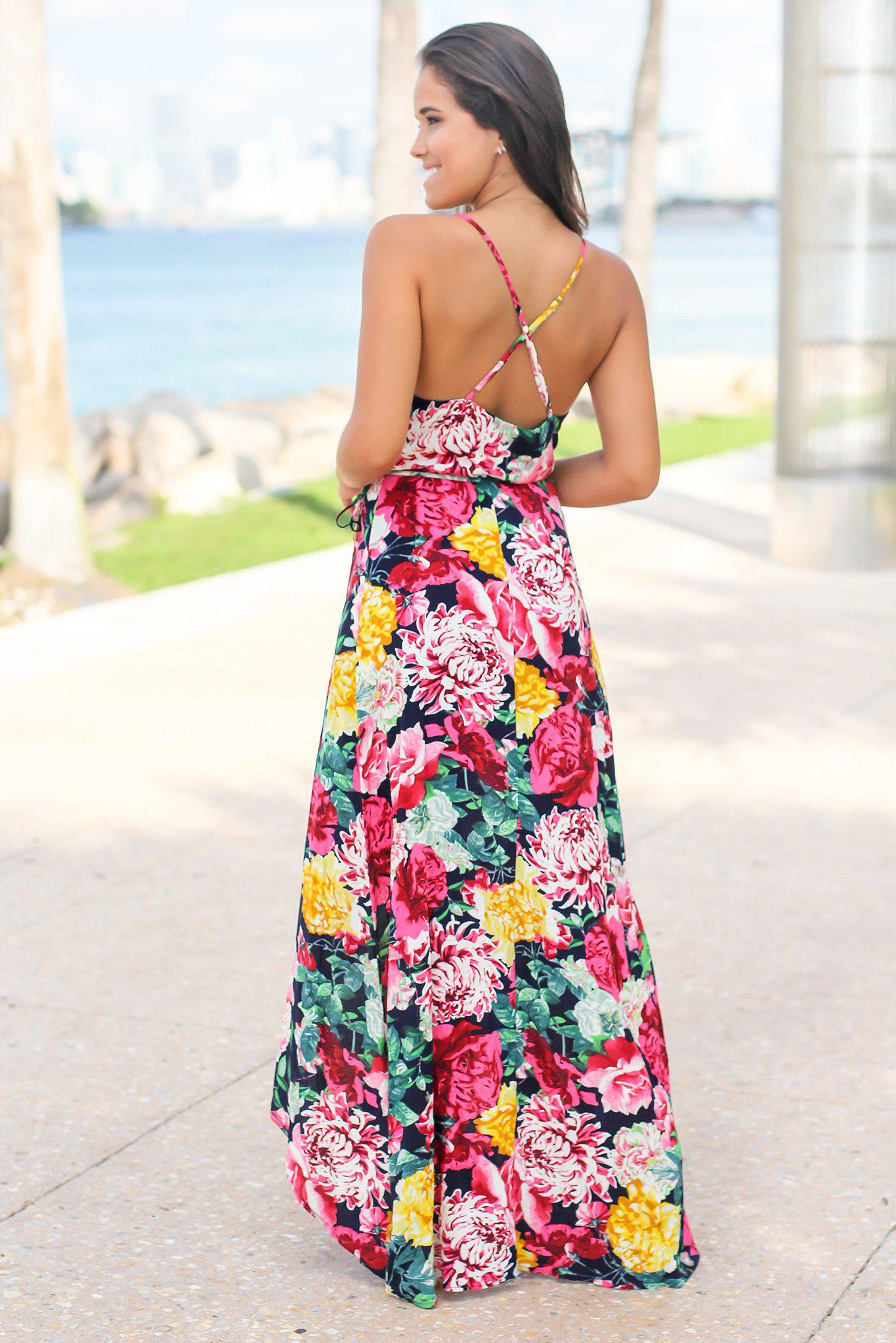 Navy and Fuchsia Floral High Low Dress