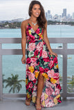 Navy and Fuchsia Floral Wrap Dress