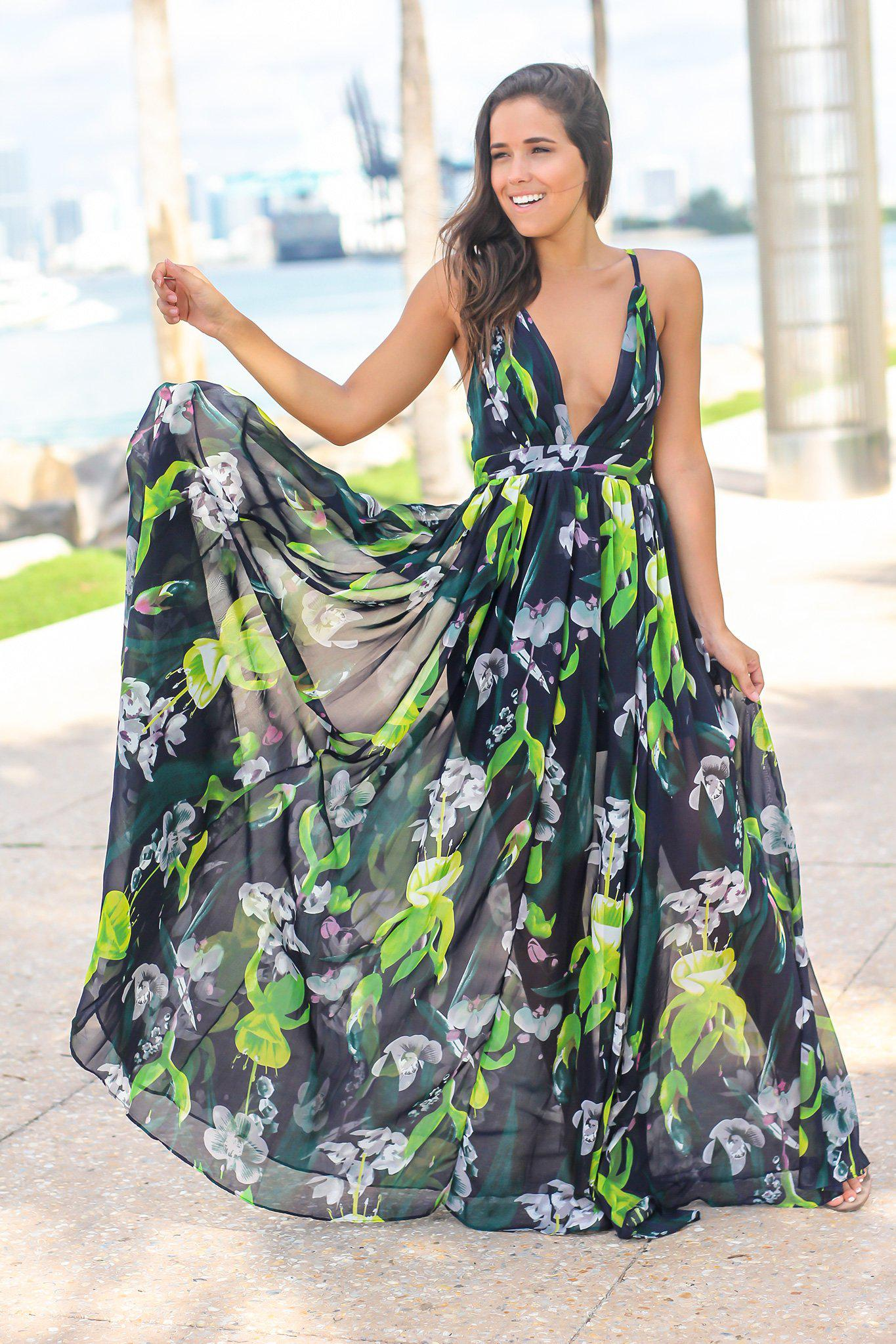 Navy and Green Floral Maxi Dress