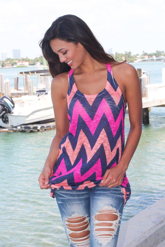 navy and hot pink top
