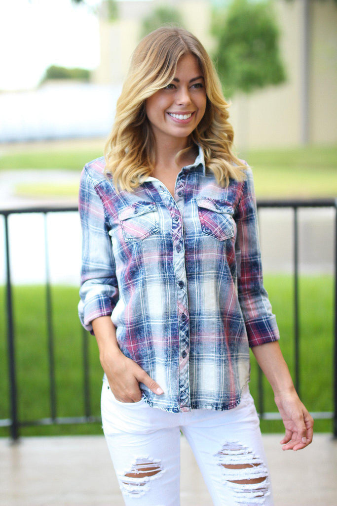 navy and ivory faded plaid top