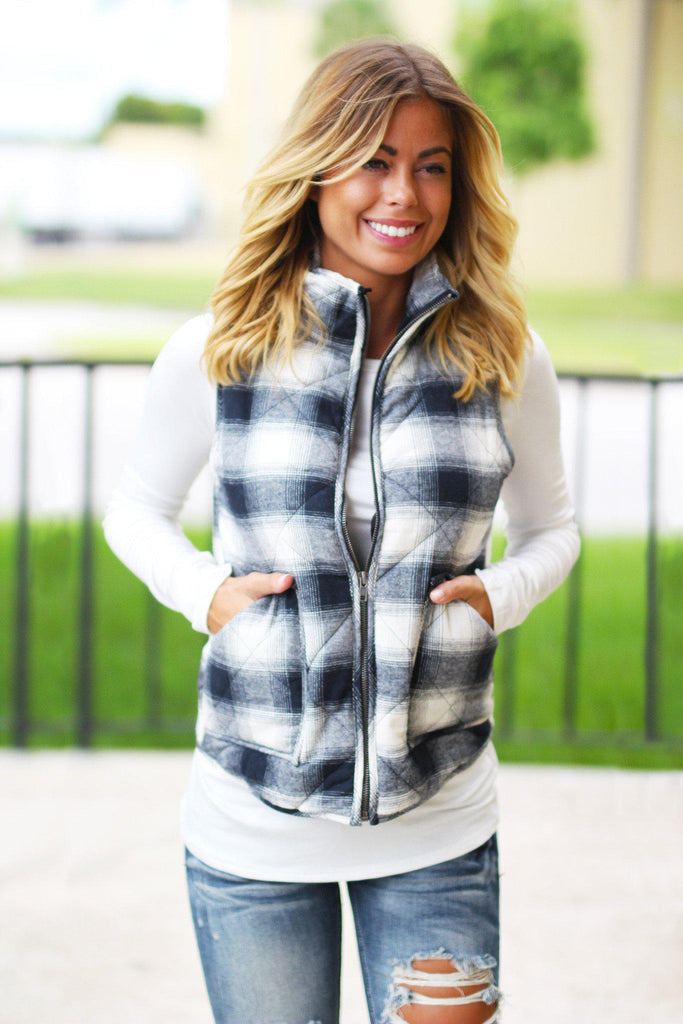 flannel casual vest