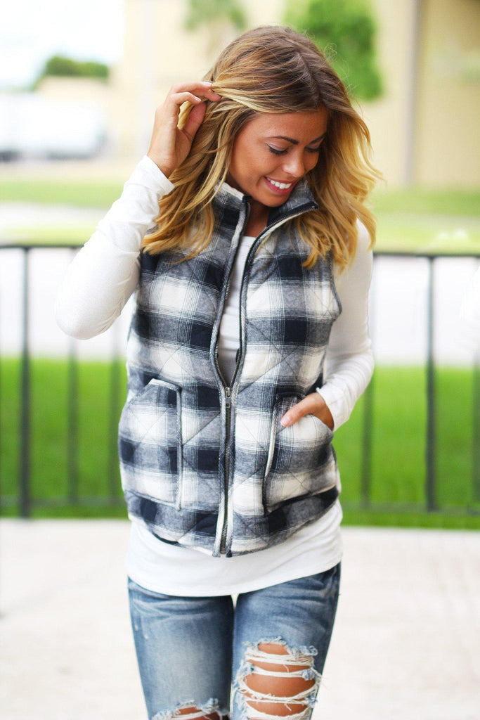 navy and ivory flannel vest with pockets