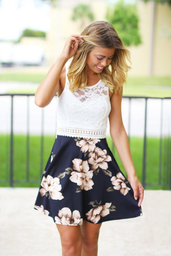 Navy and Ivory Floral Short Dress with Lace Top