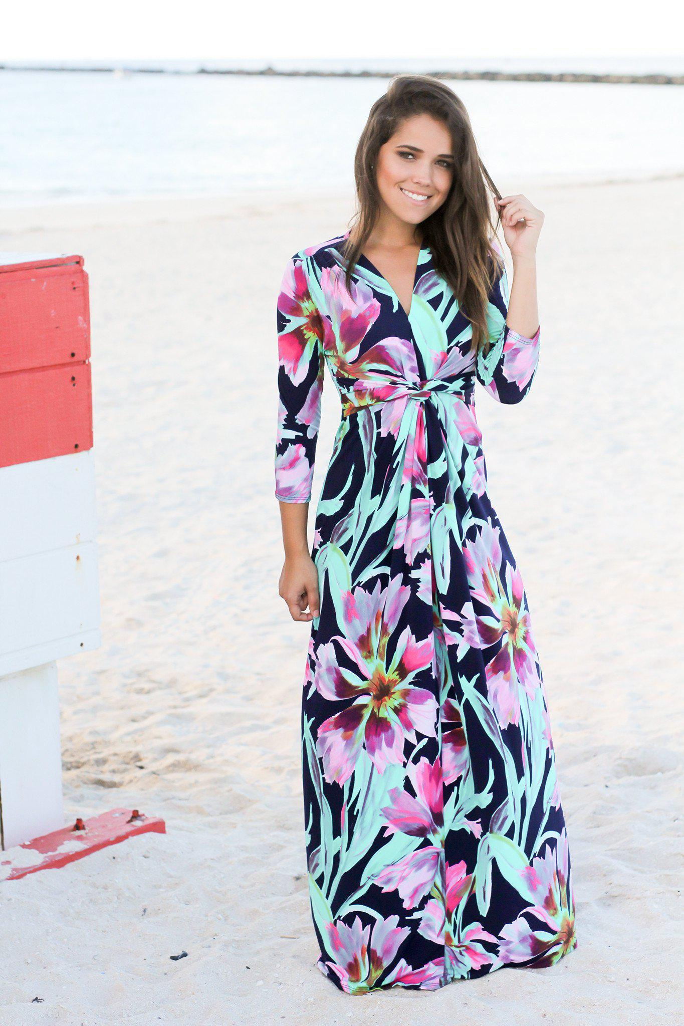 Navy and Jade Floral Maxi Dress with Knot