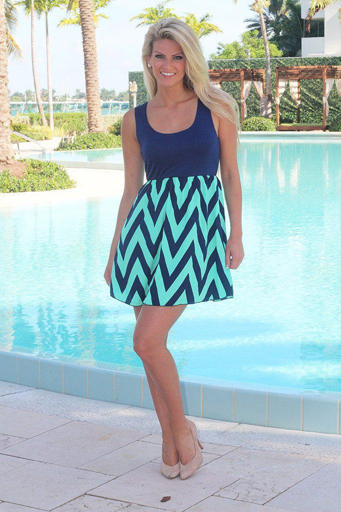 navy and mint casual dress