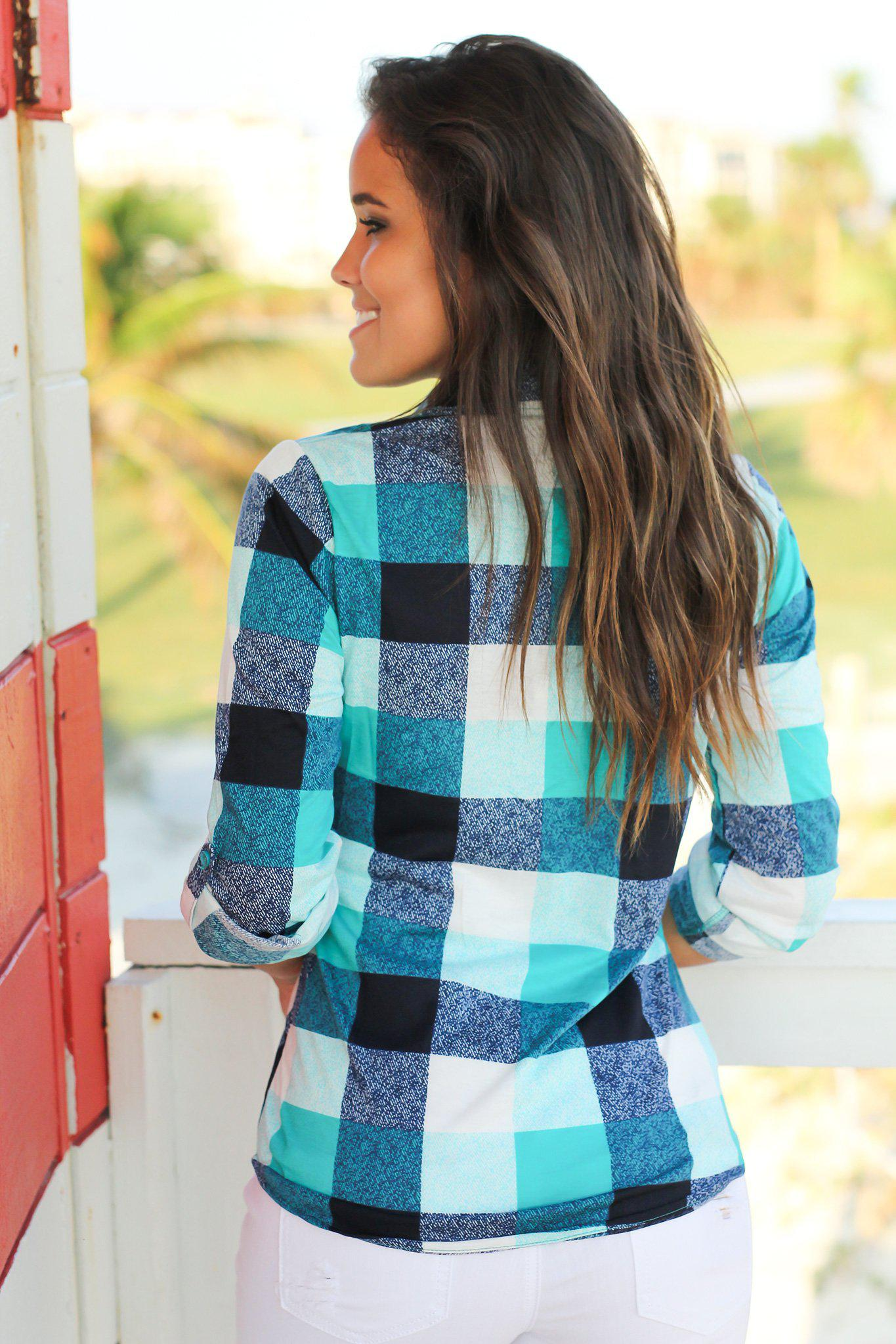 Navy and Mint Plaid Top