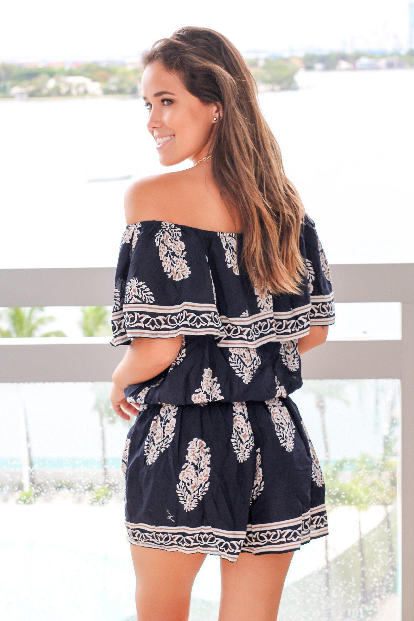 Navy and Mocha Off Shoulder Romper