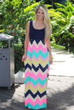 Navy and Neon Pink Chevron Maxi Dress