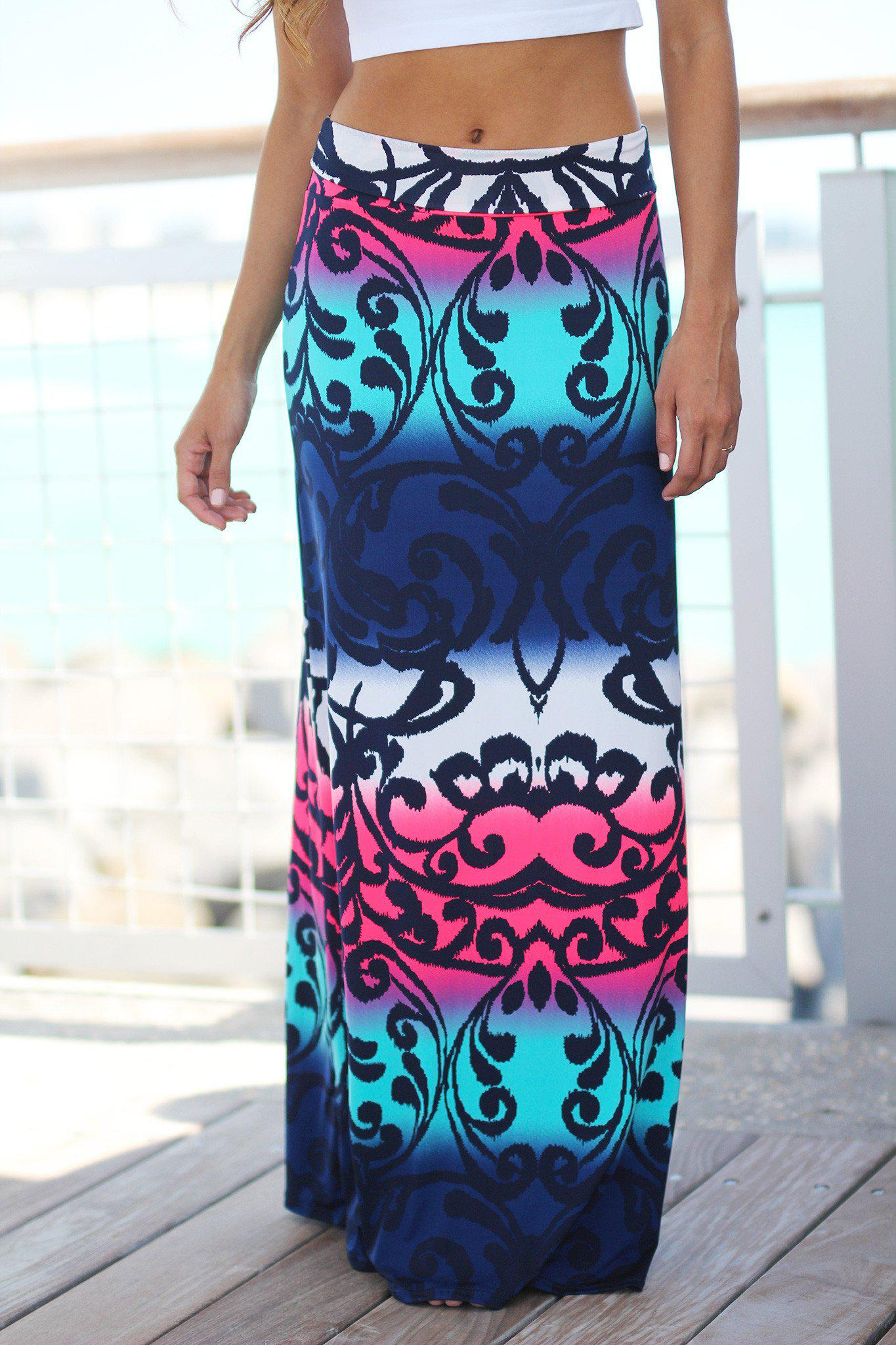 Navy and Neon Pink Printed Maxi Skirt