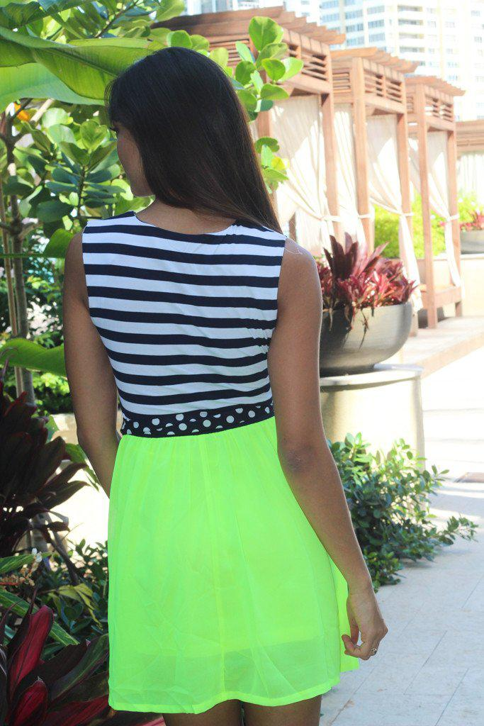 Navy and Neon Yellow Short Dress