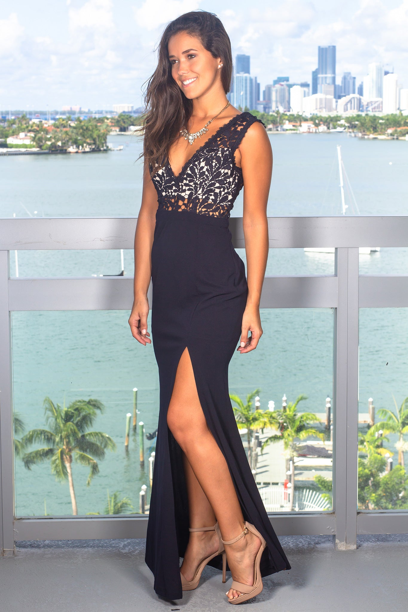 Navy and Nude Maxi Dress with Crochet Top and Side Slit