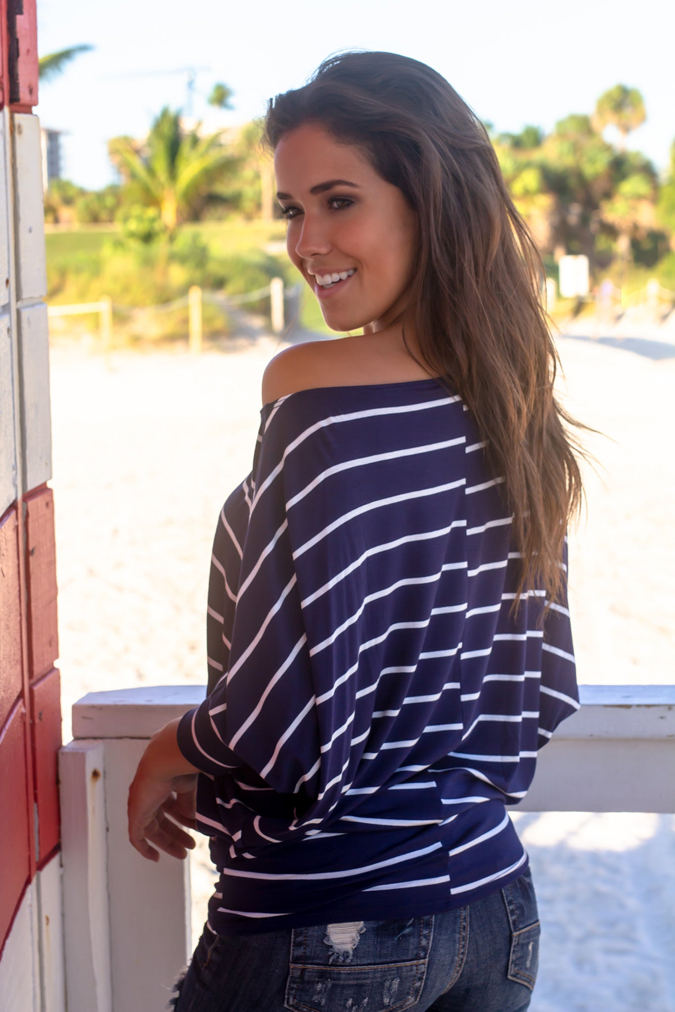 Navy and Off White Striped Long Sleeve Top