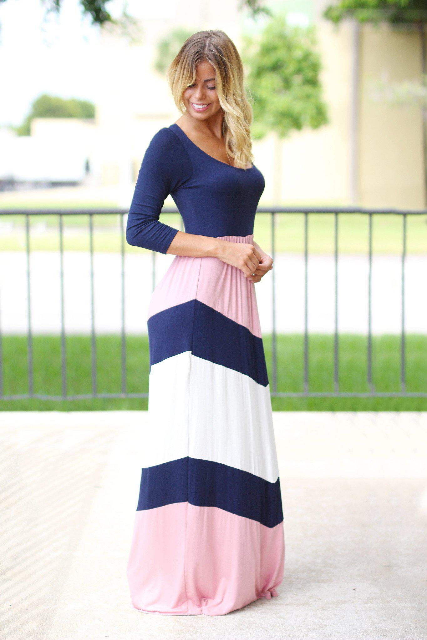navy and pink maxi dress