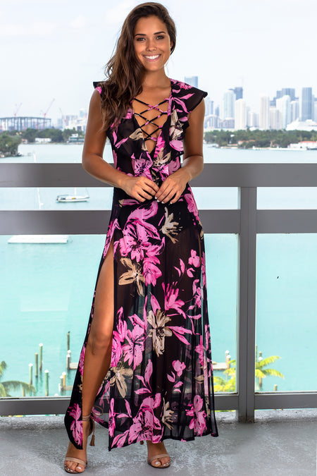 Navy and Pink Floral Maxi Dress with Ruffled Top