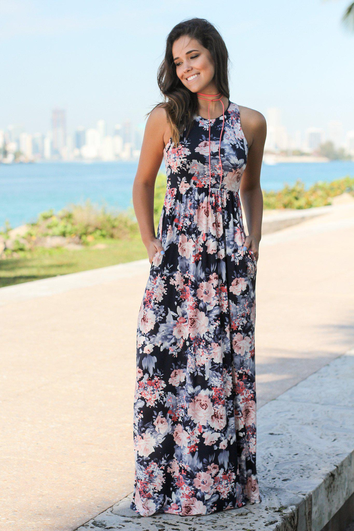 Navy and Pink Floral Racerback Maxi Dress