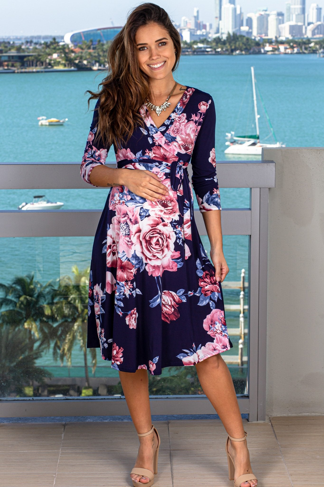 Navy and Pink Floral Short Dress