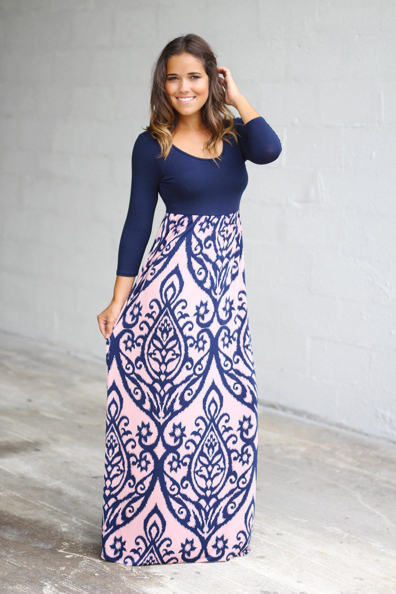 Navy and Pink Printed Maxi Dress | Multicolor Maxi Dress – Saved ...