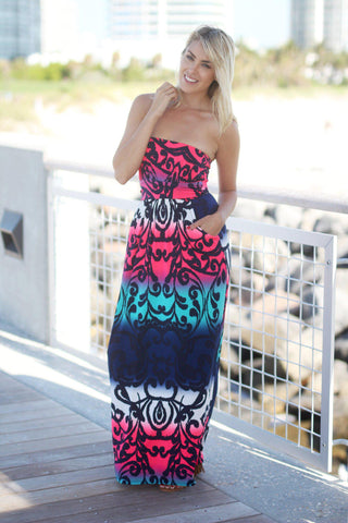 Navy and Pink Maxi Dress with Pockets