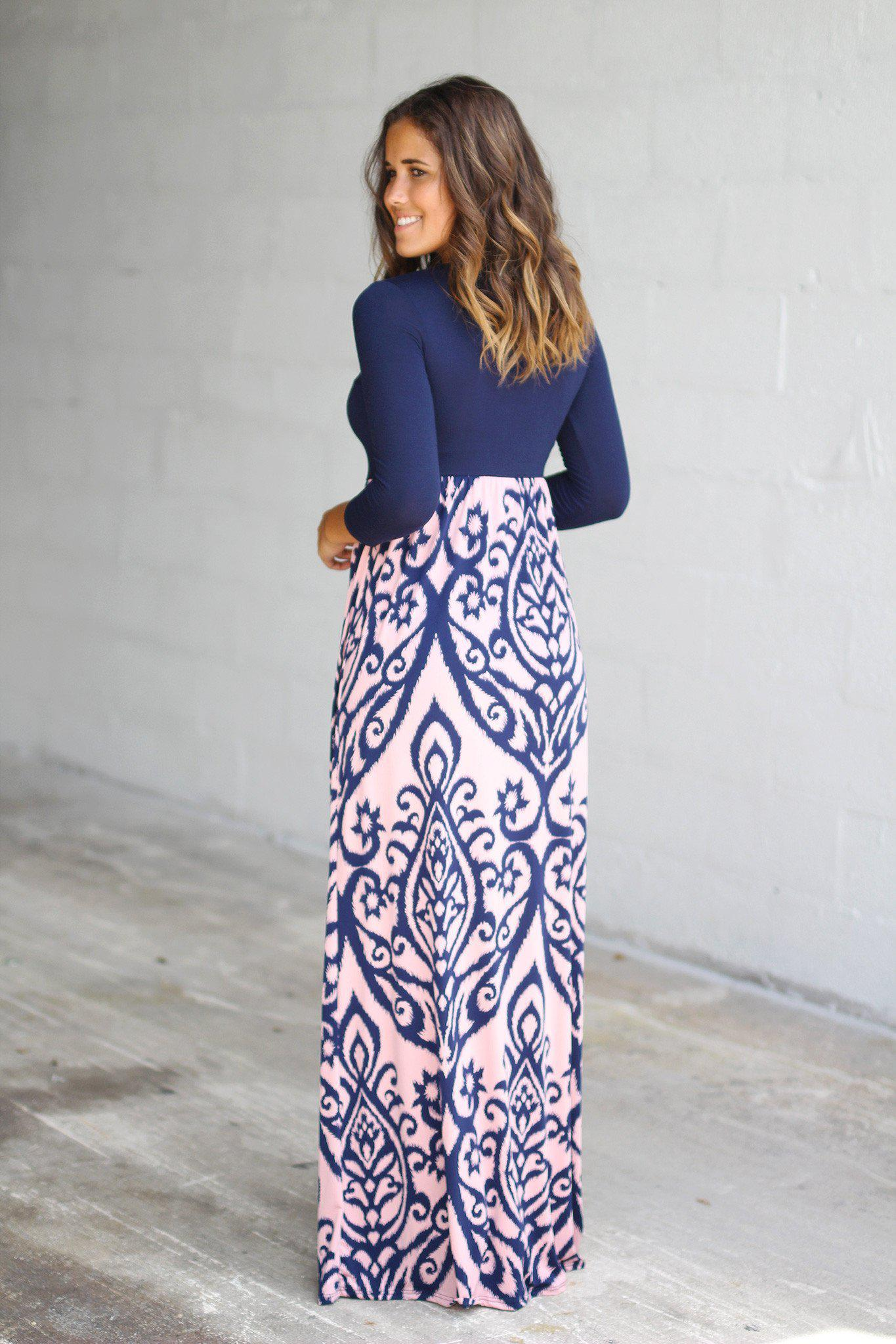 Navy and Pink Printed Maxi Dress