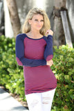 navy and pink patched tunic