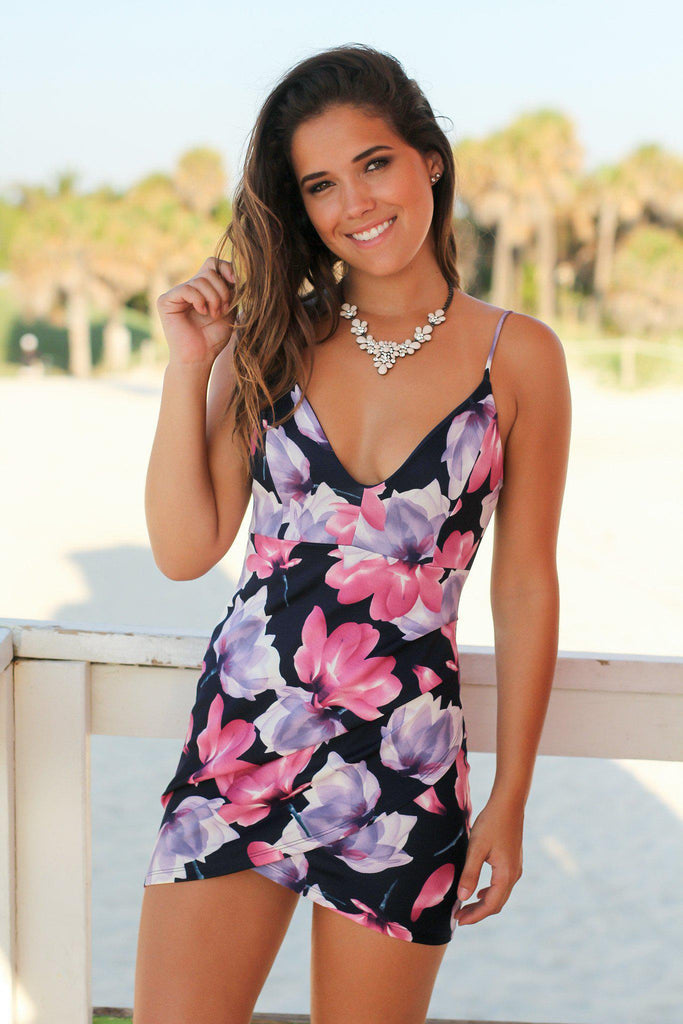 Navy and Purple Floral Short Dress